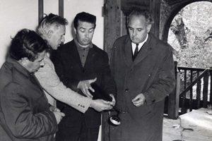 Обсъждане на ремонта в Конака, 1970 г. Иван Пеевски, Ганко Цанов, Стефан Дачев, Петко Съйчевски