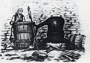 Стар бакърен казан (троянски бакърен казан). Виждат се: казанът, капакът, казанската футия и казанската лула, която минава през футията. Долу вляво е белият медник, в който се втича прясната ракия. Обикновено този казан има вместимост от 120 – 150 – 200 литра.