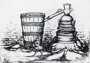 Грънчарски казан – казан, капак и лула все грънчарска направа и материал. (Тази рисунка е направена от натура в Троянския музей.)