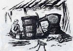 Бакърен казан с грънчарски капак и грънчарска лула. Този казан вече не се среща в Троянско. Той е употребяван в по-далечното минало.