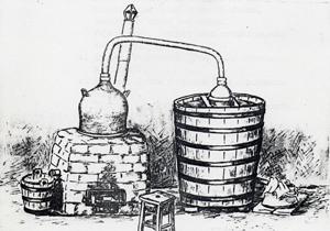 В Троянско се срещат и варианти на габровския казан с крива лула и охладител. За печелене на топлина казаните са вградени в тухлена пещ. Някои имат и страничен кран за изпускане на изврялата каша в чебур.